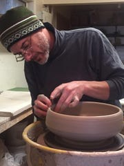 Tony Gebauer at work at his TR Pottery, one of the