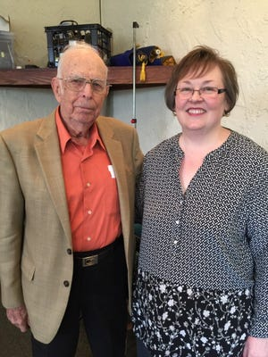 The Rev. Foy Gene Todd, left, who spoke at the April meeting of the Toccoa chapter of the Daughters of the American Revolution, is photographed with Paige Dooley, chapter regent.