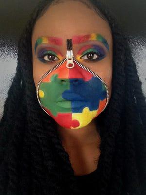 """Shekira Farrell's """"Zipper Face"""" look to raise autism awareness."""