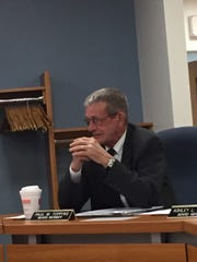 Lebanon school board Director Paul Topping discusses the district's 2017-18 budget at Monday's school board meeting.