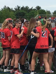 The Hunterdon Central girls lacrosse team celebrates
