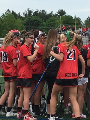 The Hunterdon Central girls lacrosse team celebrates after winning the North 2 Group IV semifinal over Hillsborough on May 23.