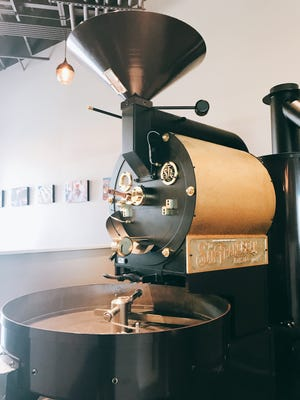 A roaster on display at Harbinger Coffee South.