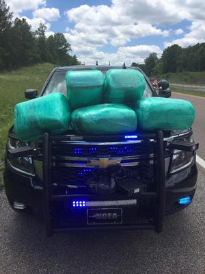 Agents with the 24th Judicial District Drug Task Force recovered about 100 pounds of marijuana in a traffic stop in mid-June.