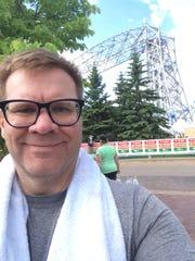 Me, after the Garry Bjorklund Half Marathon in Duluth, Minn. I'm smiling because I did not break my heart.