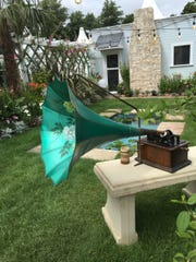 A morning glory phonograph horn (c.1907) on an Edison standard phonograph (c.1907) played an Edison cylinder record (c.1902) at the Mina's Moonlight Garden replica at the annual Hampton Court Palace Flower Show.