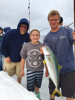 Sienna Peterson, a 10-year-old from Colorado Springs, Colorado, caught her first yellowtail (10 pounds) aboard the Gentleman.