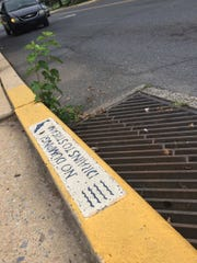 "A message reminds residents ""No Dumping Drains to Waterway"" on a storm drain at  North Seventh and Willow streets in Lebanon."