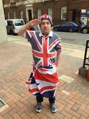 John Loughrey outside a hospital in London where both