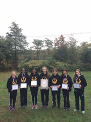 The 2016 South Brunswick cross country team after winning the Greater Middlesex Conference title. Members are Rebecca Hartman, Nikhila Obbineni, Chantel Osley, Nicole Fenske, Natalie Ginez and Riley Elia.