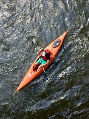 An overhead shot of a kayaker navigating the Swatara Creek.