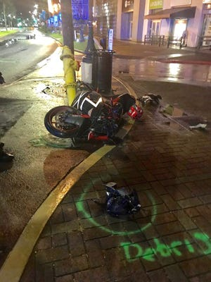 A motorcyclist died after he crashed near the Outrigger Guam Beach Resort in Tumon the early morning of Sept. 8, 2017.