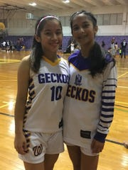 George Washington Geckos Bila Aguon, left, and Alana Salas, right, led their team to a 40-29 victory over the Guam High Panthers on Nov. 21, 2017.