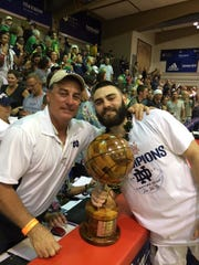 Matt Farrell with his father, Bob, after winning MVP at the Maui Invitational late Wednesday evening
