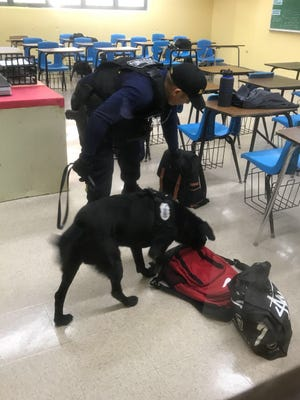 Guam Customs and Quarantine Agency drug detector dog teams searched Southern High School and found contraband on Tuesday, Nov. 28, 2017.