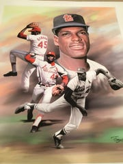 This artwork featuring Bob Gibson is one of the items up for auction at the Night of Memories.