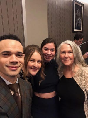 A family selfie at the Grammy Awards, with, from left, Tauren and Lorna Wells, Jaycee and Joan Bowers.