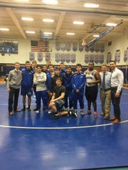 The Scotch Plains-Fanwood senior wrestlers pose after