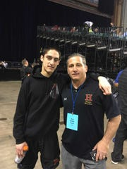 Hillsborough wrestler Anthony Donnadio and coach Steve