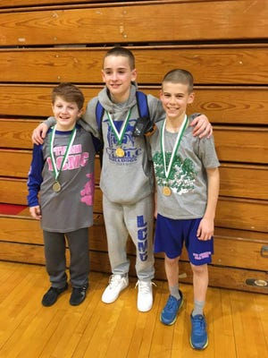 Lebanon County Mat Club wrestlers, from left, Aaron Seidel , Griffin Gonzalez and Klint Miller have qualified for the Pennsylvania Junior Wrestling Championships.