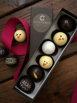 Chocodiem will be offering their truffle gift boxes with hand-painted truffles with the return of their beloved chick truffle along with seasonal spring truffle flavors as honey lavender, mango and mint among classics like caramel with pink sea salt, raspberry, dark and milk naked and their signature pearl truffle.