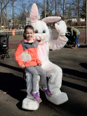 Addison Oppman, 5, of Fanwood, with the Easter Bunny.
