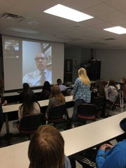 Center Hill students on the receiving end of video chat with Lester Holt.