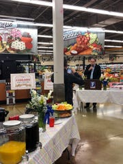 Ron Tacker, Food City executive VP of store operations, Knoxville Division, welcomes guests to the 100th anniversary celebration on Monday, April 9.