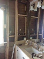 The second floor bathroom, mid-renovation