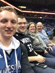 Harley Ries attends a Minnesota Timberwolves game with