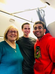 Jim Rogers was treated by three medical professionals, who formed an ad-hoc medical team to care for him. They were, from left to right, Anne Hanson, a retired nurse; Blake Tyra, a Hennepin County emergency medical technician; and Dr. Aditya Shah, an infectious diseases fellow studying at the Mayo Clinic School of Graduate Medical Education.