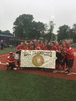 The Bishop Ahr softball team poses after winning the GMCT championship on May 30.