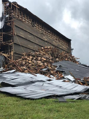 A warehouse at Barton 1792 Distillery in Bardstown, Kentucky, collapsed Friday