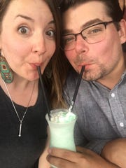 Jen and Jake share grasshopper July 5, 2017 at Ishnala