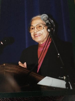 Rosa Parks speaks at an assembly in her honor at Palo Duro High School when she visited Amarillo in February 1996.