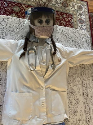 The Acton Woman's Club scarecrow contest entry currently on display at Cucurbit Farm is a thank-you to healthcare workers.