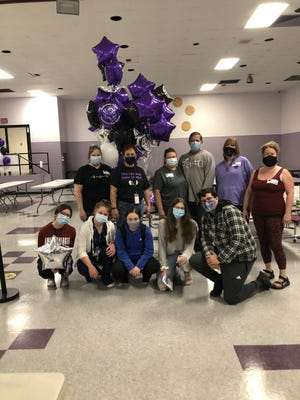 Shawsheen Regional Vocational Technical High School parents and students gathered for a photo after hosting a walk-through lunch at the school for staff and teachers.