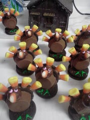Turkeys made of Oreos, Reese's Peanut Butter Cups, and candy corn at Tam Tam's Sweet Shoppe in Point Pleasant Beach.