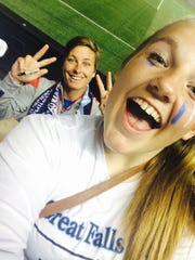 Abby Wambach has some fun after the U.S. Women's National Soccer Team defeated Mexico 8-0 on Sept. 13. She poses for Great Falls High freshman Brynn Dabler's selfie. Though it wasn't a team-sponsored event, 16 members of the team took the 16-hour round-trip drive to Utah for the game.