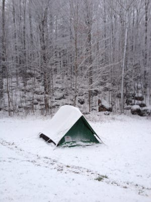 Boy Scout Troop 615 enjoyed their annual tradition of winter camping in the beautiful Gardner Dam campground, where they woke up to snow-covered tents.