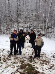 Boy Scout Troop 615 camped in the beautiful Gardner Dam campground, where they worked together to build a snowman