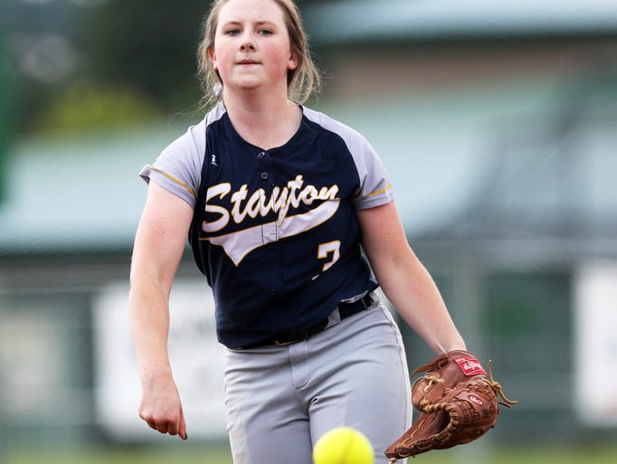 Lindsay Hill strikes out the game's last batter after Stayton scores a run in the seventh inning to defeat Sweet Home 1-0 in an OSAA state softball playoff game.