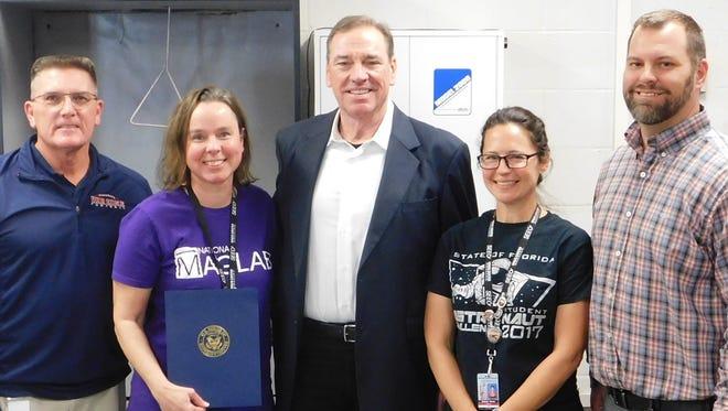 US Congressman Neal Dunn honors Wakulla Middle School teachers.