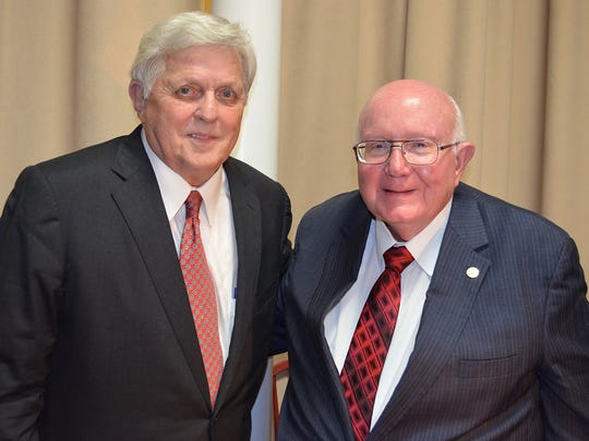 Dr. Robert C. Khayat, chancellor emeritus of the University of Mississippi, poses with Dr. Tommy King, president of William Carey University, at WCU's fourth annual scholarship dinner. Khayat served as keynote speaker for the dinner, which is held to raise money for institutional scholarships.
