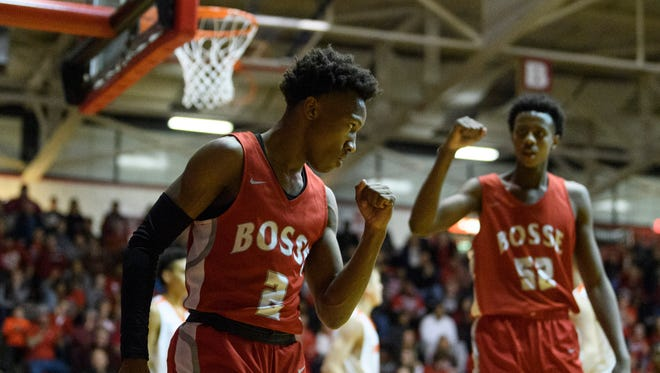 Bosse's Mekhi Lairy (2) reacts to being fouled during the IHSAA Class 3A Regional Championship. Lairy was named the Male Athlete of the Year by the Southern Indiana Athletic Conference.
