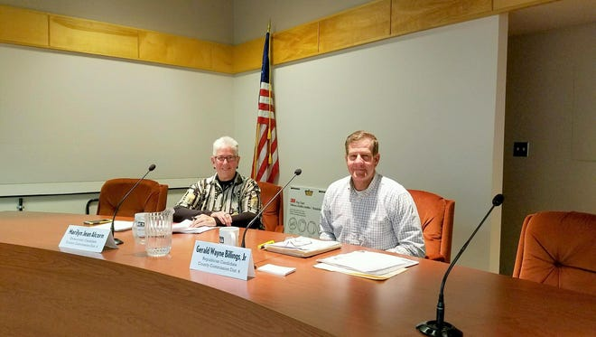 Mary Jean Alcorn and Billy Billings debated as county commissioner candidates.