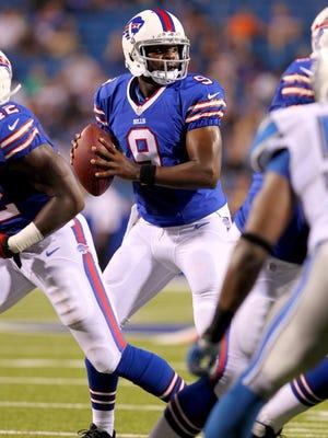 Buffalo Bills quarterback Thad Lewis (9) looks to make a pass during a preseason game.