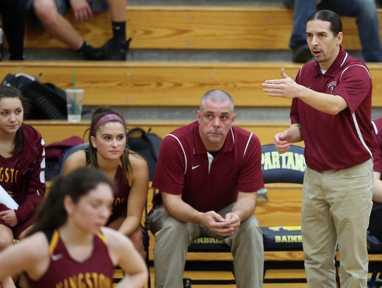 Kingston Girls Basketball head coach Charles Deam coaches