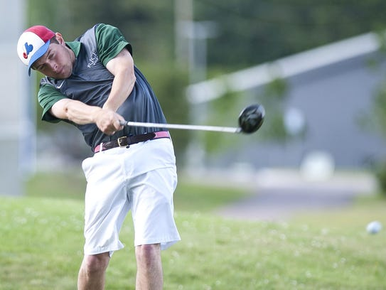 Rice's Sam Myers hits his drive on the 17th hole during