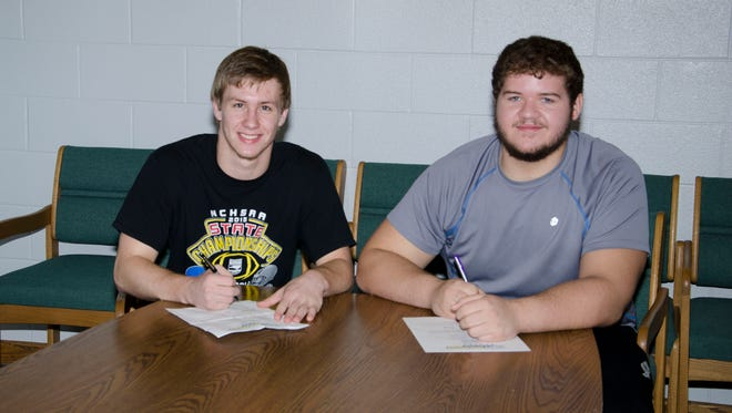 Robbinsville seniors Colton Millsaps, left, and Austin Hedrick have signed to play college football for Limestone (S.C.).